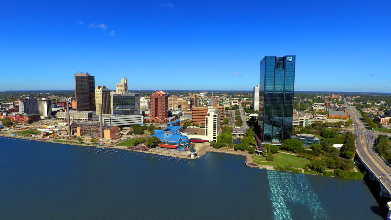 Downtown Toledo Ohio, Aerial Skyline View
